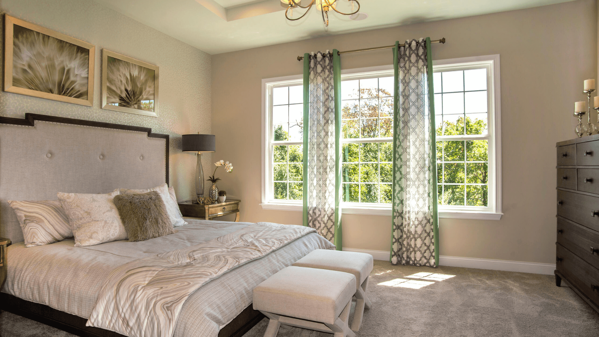 A master bedroom inside a new home at Rivers Pointe Villas riverview community