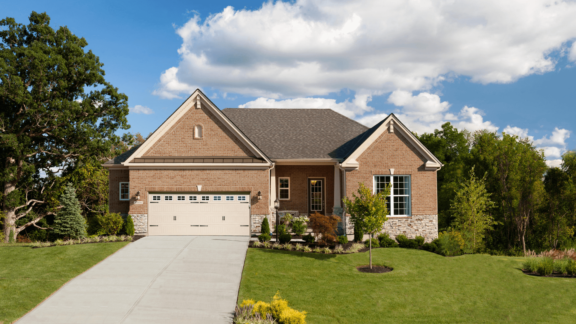 An exterior of a new home at Rivers Pointe Villas - Northern Kentucky Riverview community
